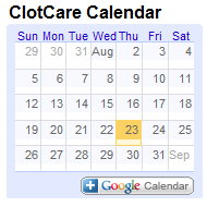 Blood Clot Activities Calendar